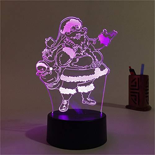 7 Couleur Acrylique 3D Lumière De Nuit Joyeux Noël Bonhomme De Neige Santa Tree Elk Animaux De Bande Dessinée Led Décoration Pour Chambre Touche Lampe