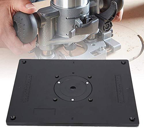 Router Platte Aluminium Router Tabelle Insert Plate Router Tischeinsatz Platte DIY Fräser Tischplatte mit Einsteckring für Holzbearbeitung Bänke, 11,81 x 9,25 x 0,37 Inch (Schwarz)