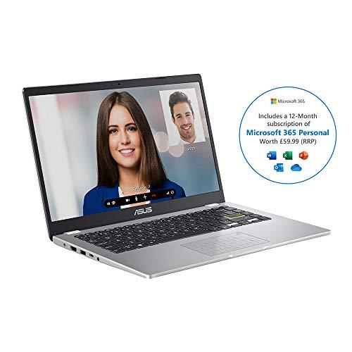 ASUS E410MA 14 Inch HD Laptop with Microsoft Office 365 Intel Celeron N4020 4 GB RAM 64 GB eMMC NumberPad Windows 10 S Home