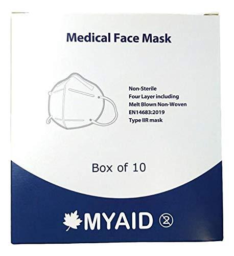 MYAID, mascarilla facial protectora desechable FFP2/ KN95, 94% de filtración, paquete de 10
