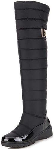 Fuxitoggo Frauen Winterstiefel Hohe Knie Runde Zehe Warme Schuhe Damen Mode Oberschenkel Wasserdichte Schneeschuhe (Farbe   Schwarz Größe   8=42 EU)