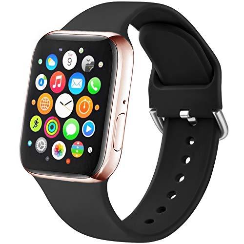 Amzpas Kompatibel mit Apple Watch Armband 38mm 42mm 40mm 44mm, Weiche Silikon Sport Ersatzarmband Kompatibel mit iWatch Series 6 5 4 3 2 1 (38mm/40mm S/M, Schwarz)