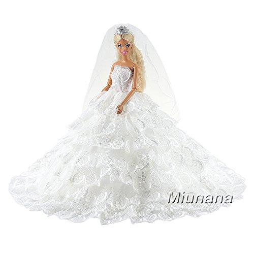 Miunana Abito Vestito Grande di Sposa Matrimonio Principessa Signorina per 11.5 Pollici 28 -30 CM Bambola (Bianco)
