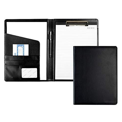 Purinko クリップボード A4 バインダー 多機能フォルダー メモ用紙付き A4書類フォルダー 高級PUレザー 高級感 軽量 入職プレゼント (ブラック)