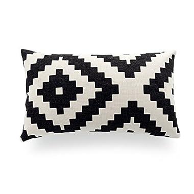 Hofdeco Decorative Lumbar Pillow Cover HEAVY WEIGHT Cotton Linen Modern White Black Stylish Nordic Pattern 12 x20