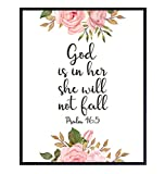 Positive Quotes Inspirational Christian Wall Decor - Motivational Bible Verse Wall Art - Scripture Room Decor Poster - Uplifting Gift for Religious Women, Girls - Pink Floral Pastel Colors Picture