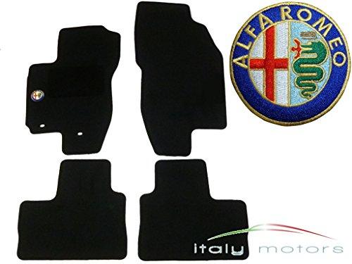 Juego de alfombrillas para Alfa Romeo 156 – Velour Tuftvelour – con logotipo de Alfa Romeo