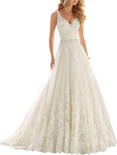 OWMAN Lace V Neck Wedding Dress Beaded Bridal Dresses Appliques Straps Wedding Gown Ivory
