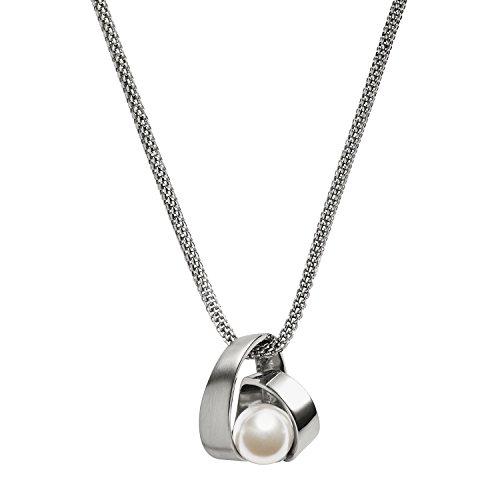 SKAGEN Damen-Ketten Edelstahl Rundschliff Synthetische Perle Cristal