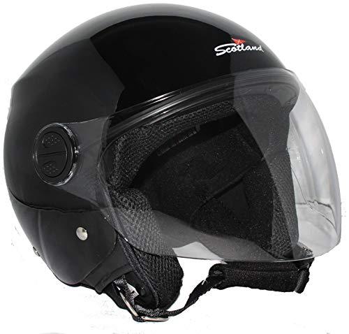 Scotland Motorcycle Dept 120013 NEW Restyling casco moto scooter visiera lunga, Nero lucido, XL