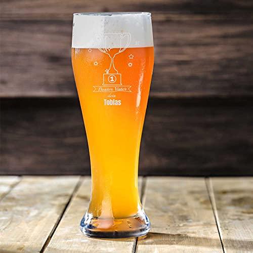 Smyla Weizenbierglas mit Gravur für den Vatertag   Bester Vater Pokal   Personalisierte Biergläser 0,5 mit Wunsch-Namen   Bier Geschenk selbst gestalten   Hochwertiges Glas Geschenk-Idee