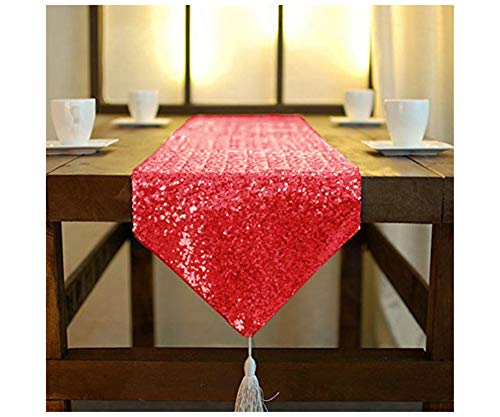 ShinyBeauty Shimmer Red-Sequin Table Runner Tassel-30x180cm, Glitter Round Sequins Fabric for Table Runners in Party Wedding Banquet Table Linen Layout or Decoration (Red)