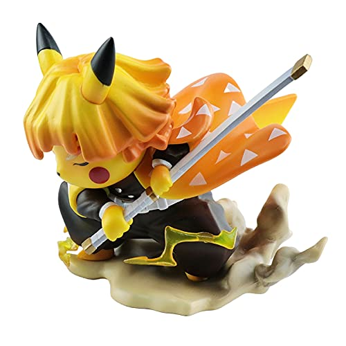 10cm Anime Demon Slayer Agatsuma Zenitsu Q Versión Mini Escritorio de oficina Modelo de coche Figura de juguete Decoración Colección Regalo para niños Nuevas estatuas de juguete Adornos de escritorio
