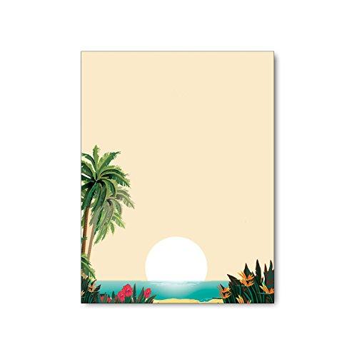 Tropical Beach Scene Stationery - 8.5 x 11-60 Tropical Letterhead Sheets - Tropcial Theme Letterhead