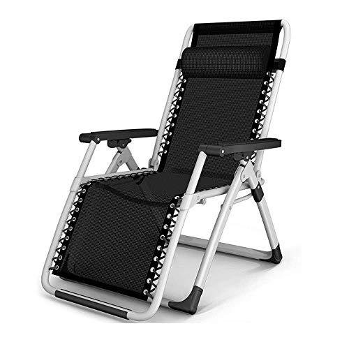 DJPP Sunloungers,Outdoor Zero Gravity Chairs Sun Patio Lounger Recliner for Beach Garden Camping Folding Lounge Chair Support 200Kg,Black,Black