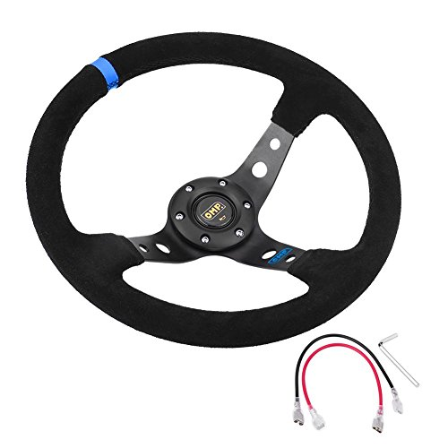 35cm / 14inch 6-Bolts Auto Racing Steering Wheel, volante de carreras y botón de bocina (negro)(Azul)