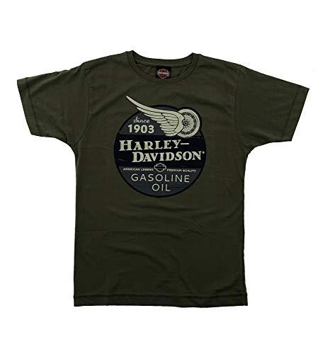 HARLEY-DAVIDSON Original HD T-Shirt für Biker - Gasoline Oil Since 1903 Harley T-Shirt für Biker - Rockabillys und den Harley Fahrer - grün, Größe:S