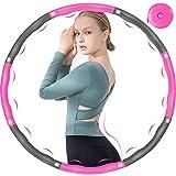 DUTISON Hula Hoop Fitness Adulto, 6-8 segmentos extraíble y de tamaño Ajustable para reducción de Peso/Fitness/Deporte con Mini Cinta métrica (Gris + Rosa)