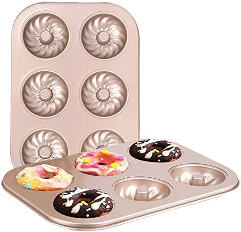 HAIPUSEN Non Stick Donut Cake Pan 6 Cavity Mini Donut Pans with 3 pattern High grade Carbon product image