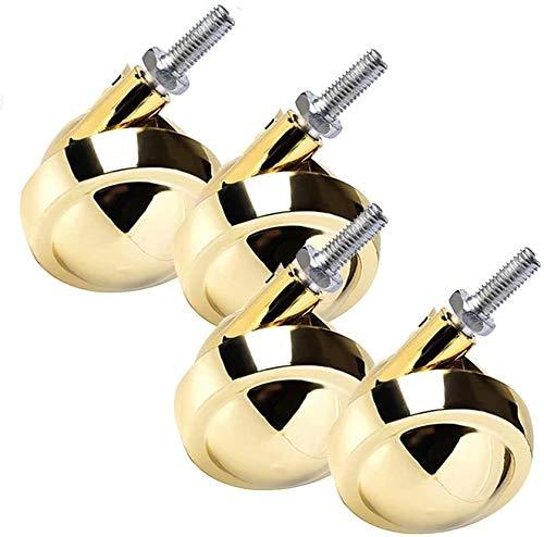 SHOP YJX Juego de 4 ruedas esféricas, M8 giratorias, ruedas de aleación de 62 mm, piezas de repuesto para muebles, ruedas doradas.