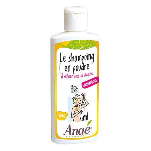 Shampoo Bio in polvere da 60 g, prodotto economico ed ecologico, il flacone da 60 g consente 90 shampoo.