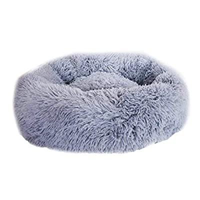 XIAJIE Pet Bed, Fluffy Luxe Soft Plush Round Cat and Dog Bed, Donut Cat and Dog Cushion Bed, Self-Warming and Improved Sleep, Orthopedic Relief Shag Faux Fur Bed Cushion (40, Light Gray)