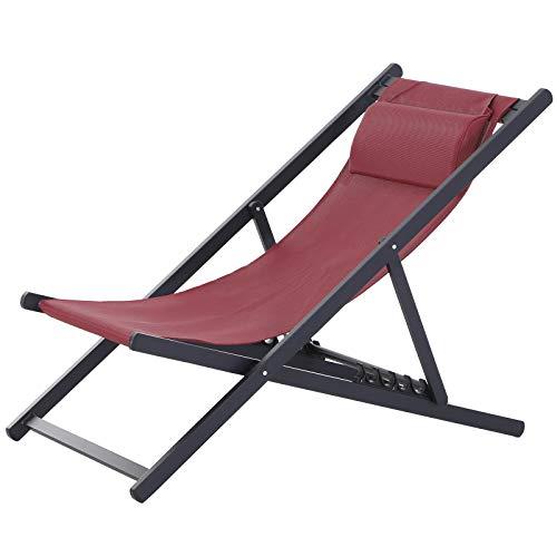 Outsunny Set 2 Sedie Poltrona Sdraio da Esterni, Pieghevoli e Reclinabili, in Alluminio, Rosso, 96.4 x 58 x 91.5cm