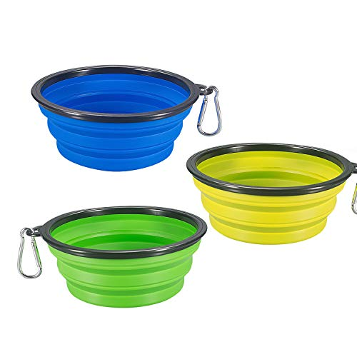 Comsun 3-Pack Collapsible Dog Bowl, Foldable Expandable Cup Dish for Pet Cat Food Water Feeding Portable Travel Bowl Blue Green Yellow