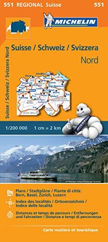 Michelin Schweiz Nord: Straßen- und Tourismuskarte 1:200.000 (MICHELIN Regionalkarten)