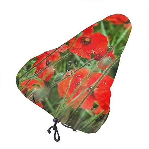 Coprisedile per Bici - Copri parapolvere Antipioggia per Sella per Biciclette Red Poppy Field Estivo, Protezione per seggiolino Bici