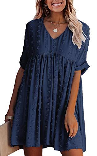 ECOWISH Women Summer Dress V-Neck Polka Dot Short Sleeve Casual Loose Flowy Swing Tunic Dresses Navy Blue Small