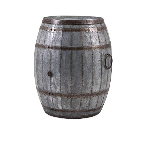 IMAX Vineyard Wine Barrel Storage Table – Vintage Inspired Iron Barrel, Rustic Metal Accent Table, Home Bar Furniture. Bar Cabinets