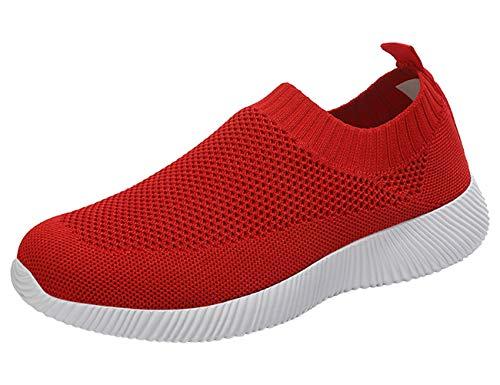 Sneakers Femme Plat Respirant Engrener Slip-on Élastique Basketss Chaussettes Antidérapant Extérieur Athlétique Marchant Léger DéContracté Chaussure Course Rouge 41 EU