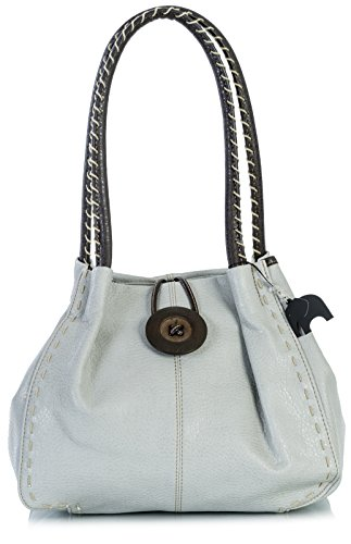 Big Handbag Shop, Borsa a spalla donna One, Grigio (Medium Grey), Taglia unica