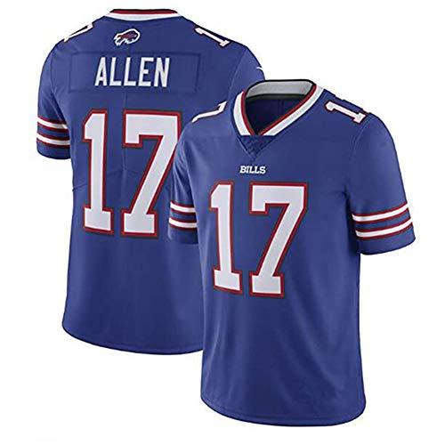 Herren Rugby Jersey T-Shirt Buffalo Bills 17# Allen Kurzarm Bequem Atmungsaktiv Sweatshirt Sport Kurzarm V-Ausschnitt Gr. M, blau