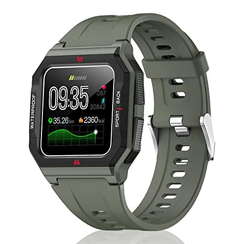 HopoFit Reloj Inteligente Niño, Smartwatch Deportivo Impermeable Pantalla Táctil Completa Pulsera Actividad Inteligente Pulsómetro Monitor de Sueño Podómetro para Android iOS (Verde)