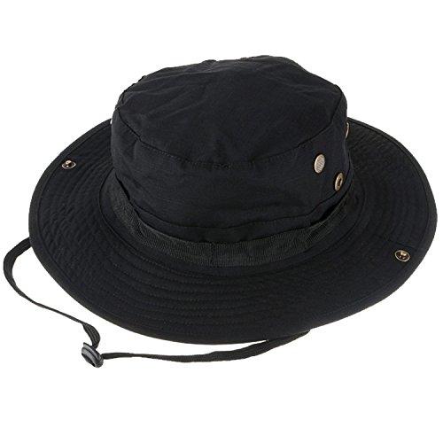 Tactical Boonie Hat, QMFIVE Sombrero Redondeado de Camuflaje Pescador Sun Protection Cap para Outdoor Climb Camping(Negro)