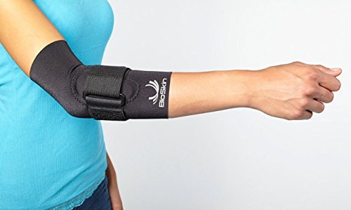 BIOSKIN™ Tennis Elbow Brace - Elbow Compression Sleeve with Support Strap and Gel Pad - For Tennis Elbow and Golfer's Elbow and Tendonitis (Large)