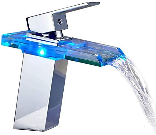 Auralum LED Glas Wasserhahn Wasserfall Waschtischarmatur Bad Armatur Einhebelmischer Badarmatur mit 3 x RGB Farbewechsel Beleuchtung für Badezimmer Waschbecken