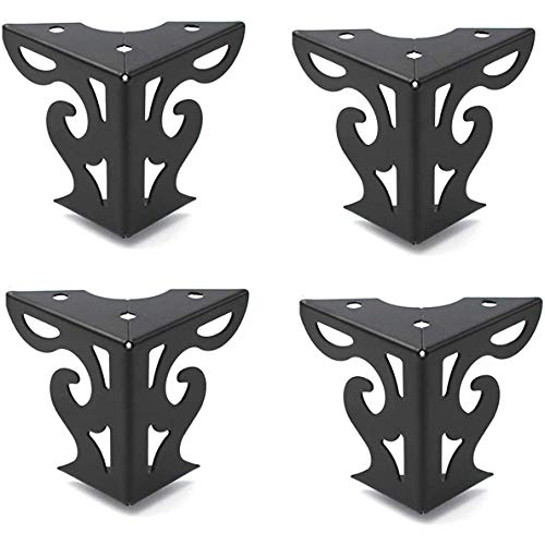 Shiwaki Ensemble de 4 pièces 3 pouces de Hauteur évider Les Jambes de meubles modernes finition Noire Mate pour canapé Table armoire armoire Lit