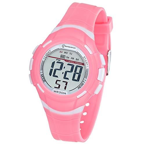 Reloj Digital Deportivo para Niños, Reloj de Pulsera Niña Multifunción con Pantalla LED Impermeable 30M para Niños, Niñas Reloj Infantil Aprendizaje para Niños 4-15 Años (Rosa)