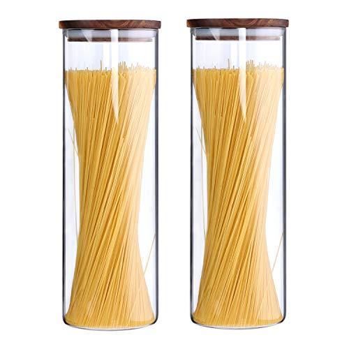 KKC Vorratsdosen Glas Luftdicht, Spaghetti Glas,Spaghettidose,Pasta Dose,Spaghetti Aufbewahrung Glas,Hoch Glasbehälter mit Holzdeckel für Nudeln Mehl,1850ML im 2er Set