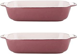DSFHKUYB Ceramic Baking Dish Rectangle Ramekins Porcelain Series Souffle Dishes for Souffle Creme Brulee Ice Cream(2Pcs),Pink