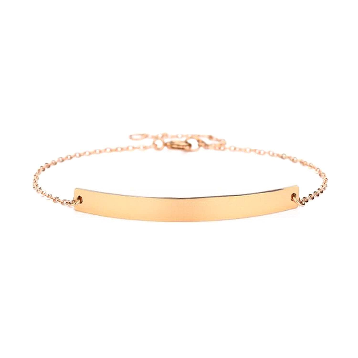 14k Solid Gold Personalized New product!! Name Bar Bracelet Date low-pricing Engrave