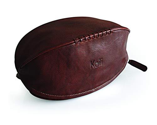 Neceser 'Pelota de Rugby' de piel auténtica – Color: marrón oscuro – Elástico interior para sujetar botellas – Cierre con cremallera – Dimensiones: 35 x 14 cm – Paquete: bolsa TNT *