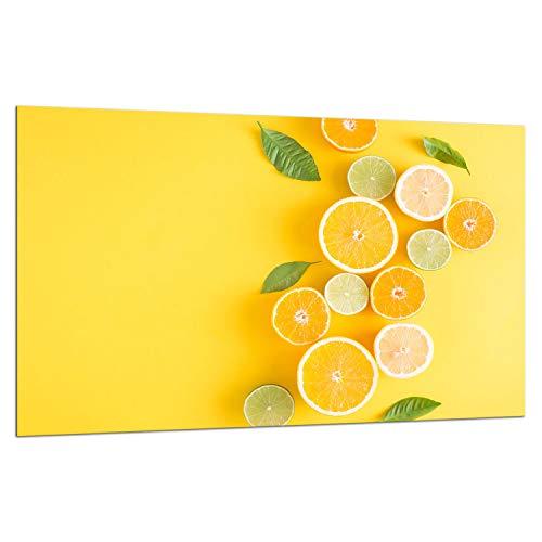 TMK - Placa protectora de vitrocerámica 80 x 52 cm 1 pieza cocina eléctrica universal para inducción, protección contra salpicaduras tabla de cortar de vidrio templado como decoración, limones fruta