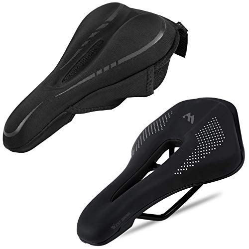 West Biking Ultralight Bike Saddle, Non-Slip Extra Comfort Water-Resistant Soft Bicycle Cushion with Breathable Design,Comfortable Bike Seat Cover, Cushion Cover with Pocket