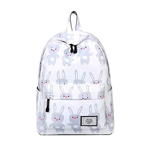 Demarkt Mode dames canvas eenvoudige bloemen schoudertas vrijetijdsrugzak tas rugzakken, wit (wit) - 43F30C16TO3YS