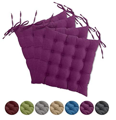 4er Set Sitzkissen Stuhl OekoTex 40x40 cm - Beere violett Sitzauflage Auflage Polster Stuhlkissen Sitzpolster mit Bändern