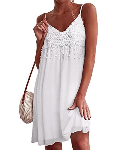 YUTILA V Ausschnitt Sommerkleid Damen Ärmellos Chiffon Kleider Spaghettiträger Kleid Strandkleider mit Spitze,Weiß,XL